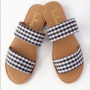 NEW Black Gingham Slide Sandals
